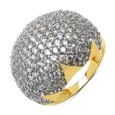 White Cubic Zirconia Gold Plated Brass Ring