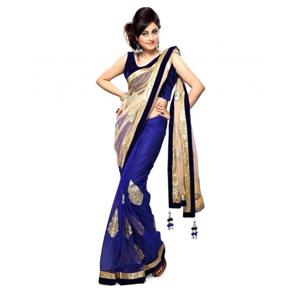 Net Embroidered Party Wear Designer Saree