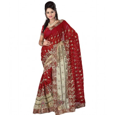 Wedding Wear Maroon Colour Saree