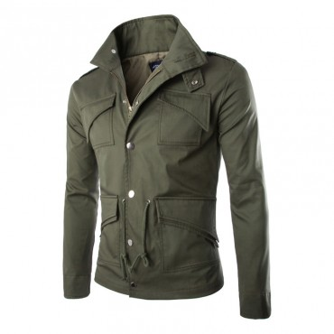 High Quality Casual Men Jacket Zip Multi-Pocket Cotton Slim Coat