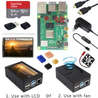 Raspberry Pi 4 Model B + Case + Power Supply + 64GB SD Card+ Heatsink Optional 3.5 inch Touch Screen / Fan+ HDMI Cable for RPI 4 Nepal