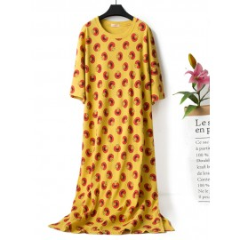 Summer Cotton Comfy Print Casual Sweat Overhead Nightgown