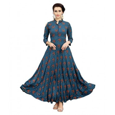 Women Blue Rayon Anarkali Kurti 201010