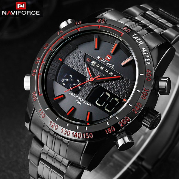 Naviforce 9024 Stainless Steel Body Men Dual Movt Watch with Date Day Function -1 Year Warranty