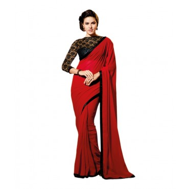Red Designer Net Blouse Saree in Nepal