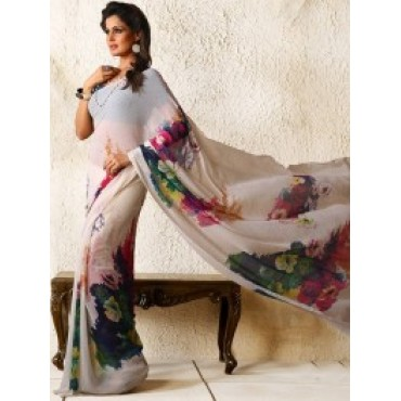 White, ChIffon, Printed, Casual Saree in Nepal.