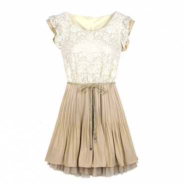 Casual Women's Fashion Beige Lace Frill Sleeve Belt Chiffon Pleated Dress Plus Size Dresses