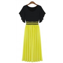 Fashion Casual Block Color Chiffon Pleated Mid-calf Long Dresses For Women Summer Wear