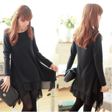 Korean Loose Casual Long Sleeve Irregular Hem Dress Women Autumn Winter Dress