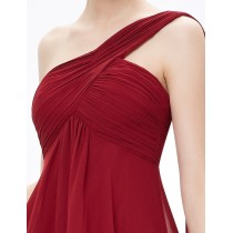 One Shoulder Ruffles Padded Chiffon Cocktail Dresses