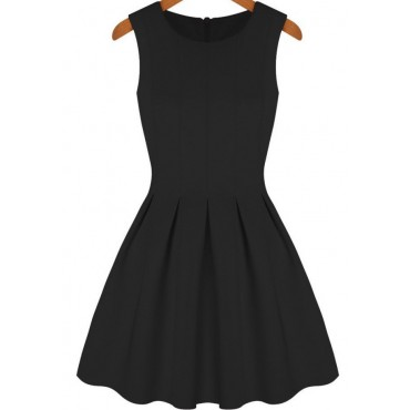 Party Black Round Neck Sleeveless Pleated Flare Dress