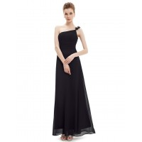 Special Occasion Dresses One Shoulder Flower Ruffles Chiffon Evening Gown