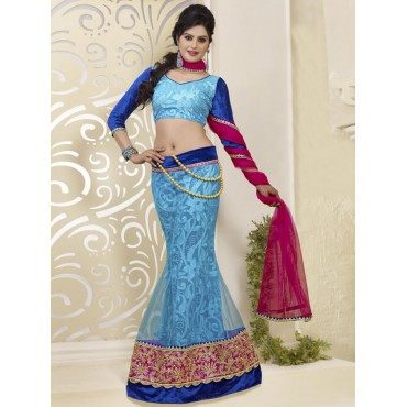 Blue, Red, Net, Santone, Velvet, Georgette Embrodery, Zari, stone work Lehenga in Nepal.