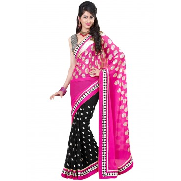 Casual Wear Red & Black Art Silk Saree in Nepal