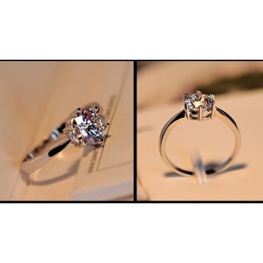 6 Claws 5mm AAA Swiss Arrows CZ Diamond Classic Engagement Ring Jewelry