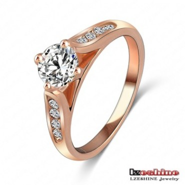 18K Rose Gold Plate Inlay Austrian Crystals Women Rings