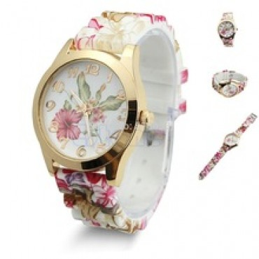 Flower Printed Silicone Watch Quartz Wristwatch Wine Red Free Shipping in nepal