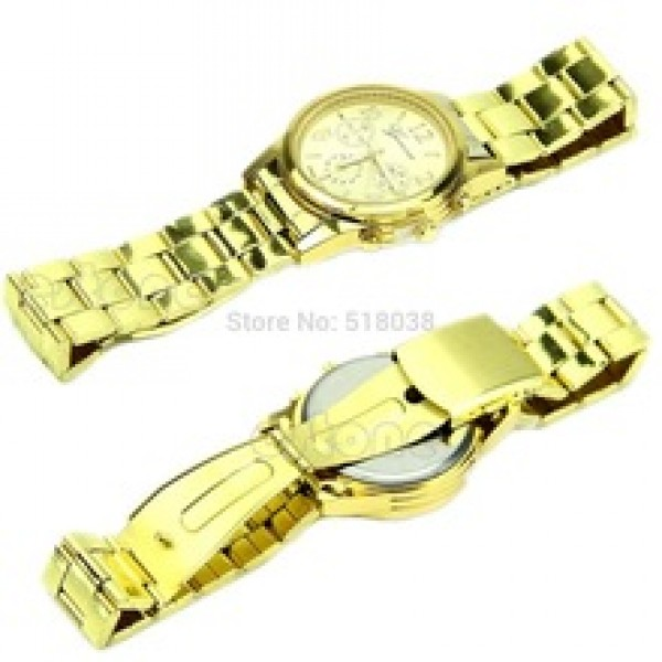 Girl Unisex Stainless Steel Quartz Wrist Watch Gold Free Shipping