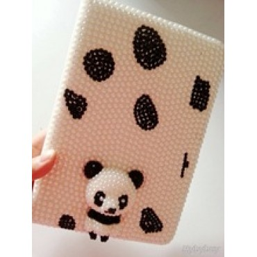 Panda Pearl Bling Rhinestone Diamond Case Cover For iPad 5 iPad 2 3 4 iPad Mini iPad Air 2 Flip Leather Case