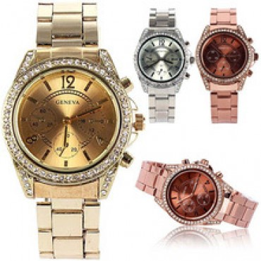 Women Girl Unisex Stainless Steel Watch Geneva Bling Crystal Quartz  in nepal