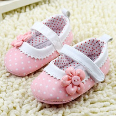 Princess Pink Flower Dot Baby Shoes in Nepal.