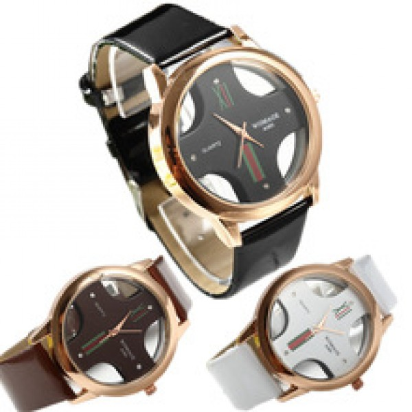 Leather strap commercial quartz watch