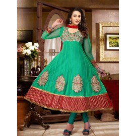 Karishma Kapoor, Green, Net,Chiffon, Embroidery,Zari Work,Dress in Nepal.