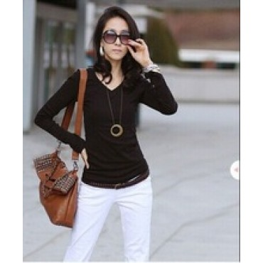 Casual T Shirts Women Blouse 2015 Long sleeve Cotton T shirt Basic Tops tees Blusas Femininas Mixed Color