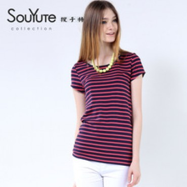cotton stripe short-sleeve o-neck T-shirt female plus size loose t shirt for women