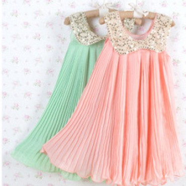 Girls Pleated Chiffon One-Piece Dress With Paillette Collar Children Colthes  in nepal