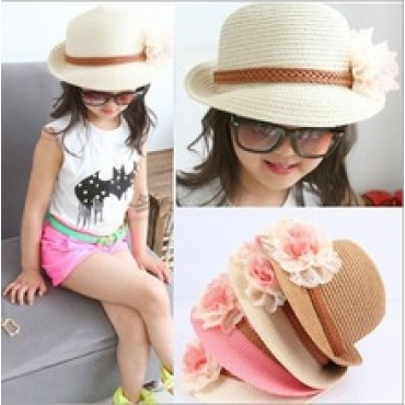Korean Girls Caps for Summer with Beautiful Flower Design Solid Straw Beach Hat Sun Hat Free  in nepal