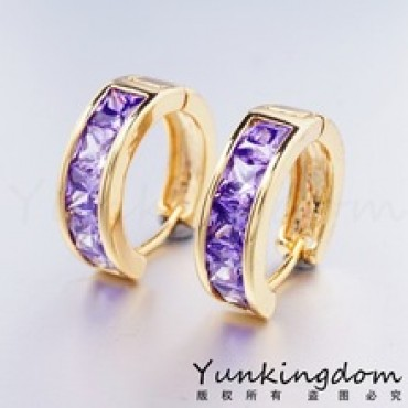 Purple Cubic zirconia Hoop Earring