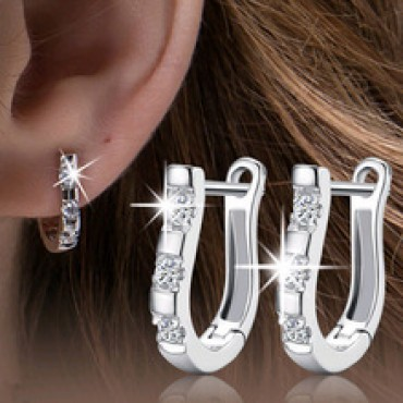 Nice White Crystal Silver Brincos Ouro Women's Hoop Earrings