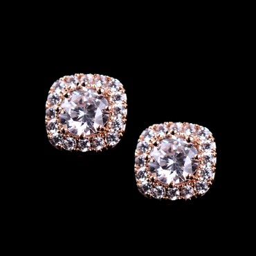 925 Sterling Silver Big Swiss Cubic Zirconia Stud Earrings
