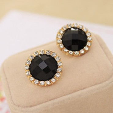 Spherical Candy Crystal Flower Stud Earrings
