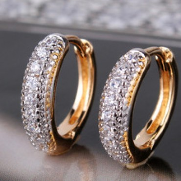 Platinum Plated Hoop Huggies Earring