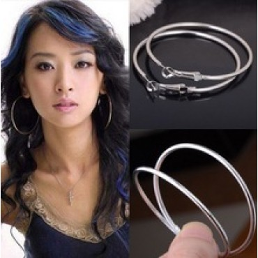 Silver Round Big Large Hoop Huggie Loop Earrings in Nepal.