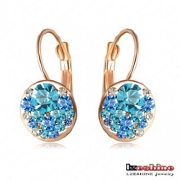Rose Gold Plated With Austrian Crystals Women Earrings