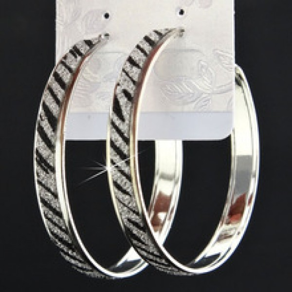Big Zebra Frosted Silver Hoop Earrings