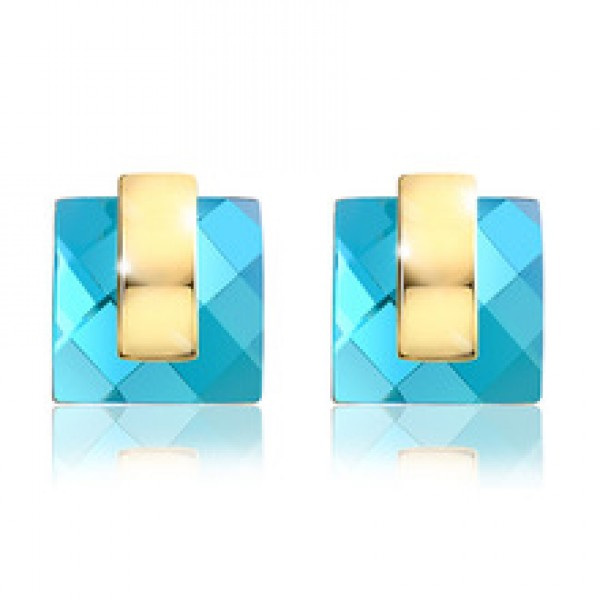 Blue Crystal Rhinestone Square Stud Earrings in Nepal.