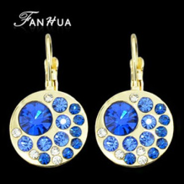 Blue Round Simulated Gemstone Earrings in Nepal.