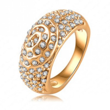 Classic Round Ring Real 18K Gold Plated Pave Austrian Crystal in nepal