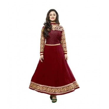Maroon Faux Georgette Semi-Stitched Suit