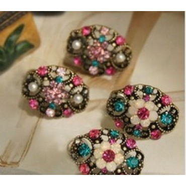 Multi-colored rhinestone crystal flower stud earring