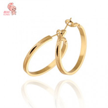 New Pipular Classic 18KGP Big Circle 31mm Hoop Earrings