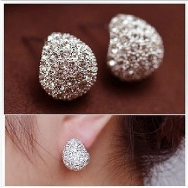 Rhinestone Crystal Silver-plated Stud Earrings at only NRS460