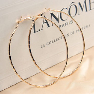 Simple Designed Fashion Rose Gold Plated Big Hoop Earring in Nepal