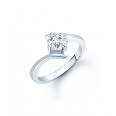 Sterling Silver Solitaire Ring Adorned With Shiny Cz Stone