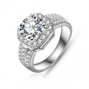Trendy Ring Platinum Plated Square Shape Micro Pave in nepal