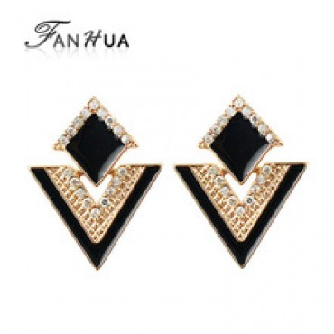 Triangle Colorful Enamel Rhinestone Alloy Dangle Earrings in Nepal.